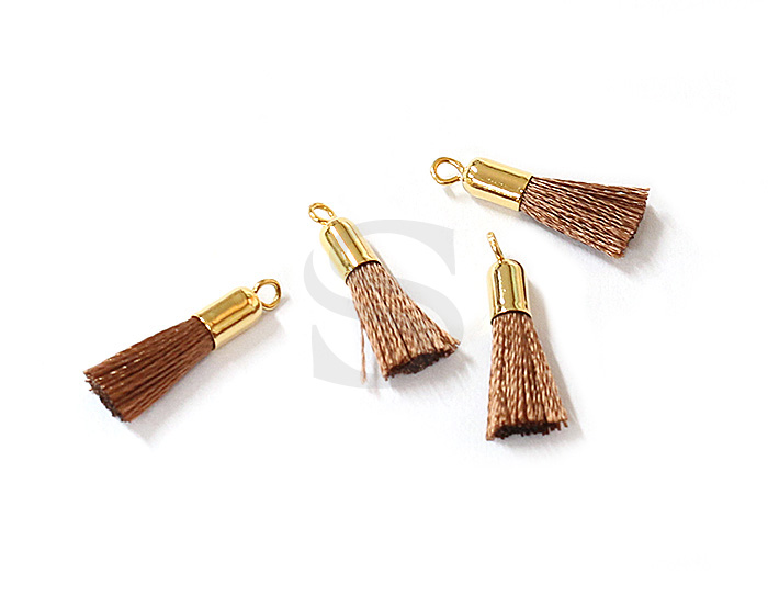 [UM0084-GBR] 4 Pcs / Mini thread tassel / Thread + Brass / 3mm x 17mm