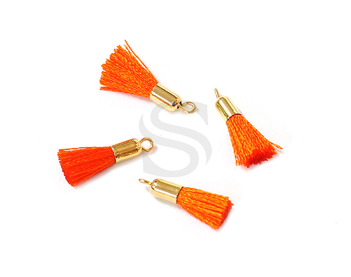 [UM0084-GOR] 4 Pcs / Mini thread tassel / Thread + Brass / 3mm x 17mm