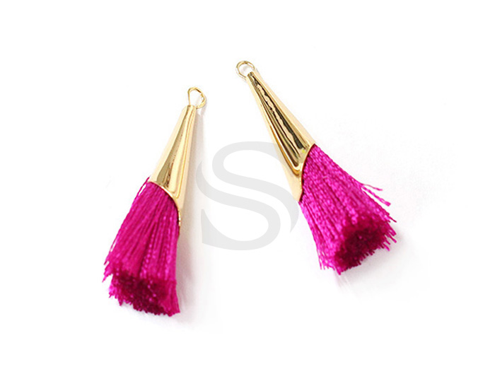 [UM0085-GHP] 2 Pcs / Thread Tassel Set In Corn Beads Cap / Thread + Brass / 7mm x 33mm