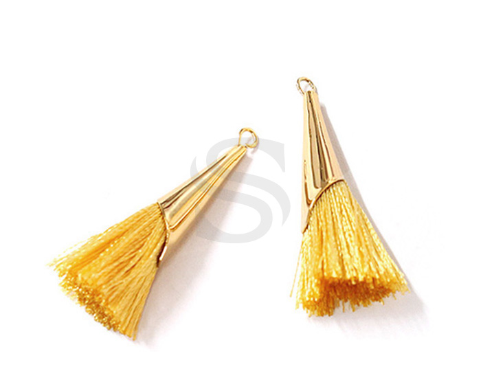 [UM0085-GMY] 2 Pcs / Thread Tassel Set In Corn Beads Cap / Thread + Brass / 7mm x 33mm