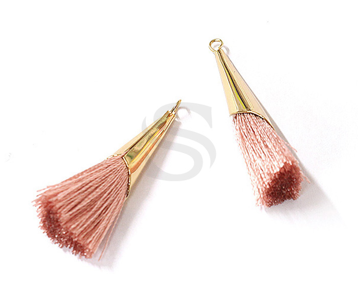 [UM0085-GPK] 2 Pcs / Thread Tassel Set In Corn Beads Cap / Thread + Brass / 7mm x 33mm