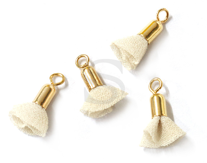 [UM0087-GCR] 4 Pcs / Mini fabric tassel / Fabric + Brass / 3mm x 13mm