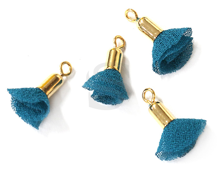 [UM0087-GTG] 4 Pcs / Mini fabric tassel / Fabric + Brass / 3mm x 13mm