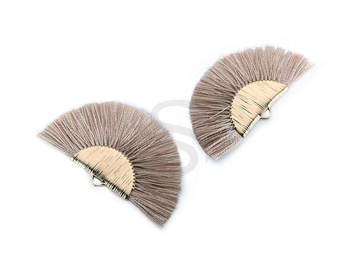 [UM0089-GBE] 4 Pcs / Fan Tassel / Thread + Brass / 45.5mm x 26.2mm
