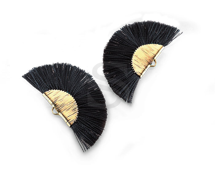 [UM0089-GBL] 4 Pcs / Fan Tassel / Thread + Brass / 45.5mm x 26.2mm