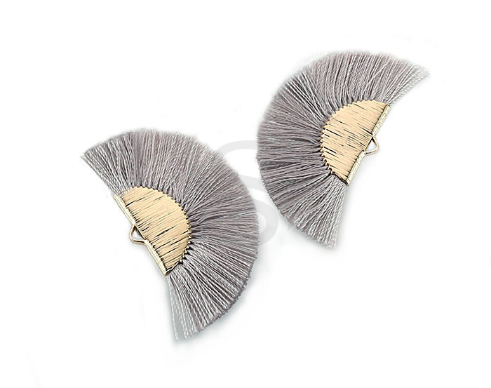 [UM0089-GGR] 4 Pcs / Fan Tassel / Thread + Brass / 45.5mm x 26.2mm