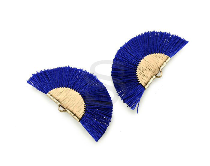 [UM0089-GNV] 4 Pcs / Fan Tassel / Thread + Brass / 45.5mm x 26.2mm