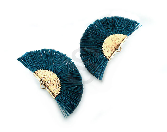 [UM0089-GPG] 4 Pcs / Fan Tassel / Thread + Brass / 45.5mm x 26.2mm