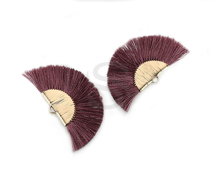 [UM0089-GPY] 4 Pcs / Fan Tassel / Thread + Brass / 45.5mm x 26.2mm