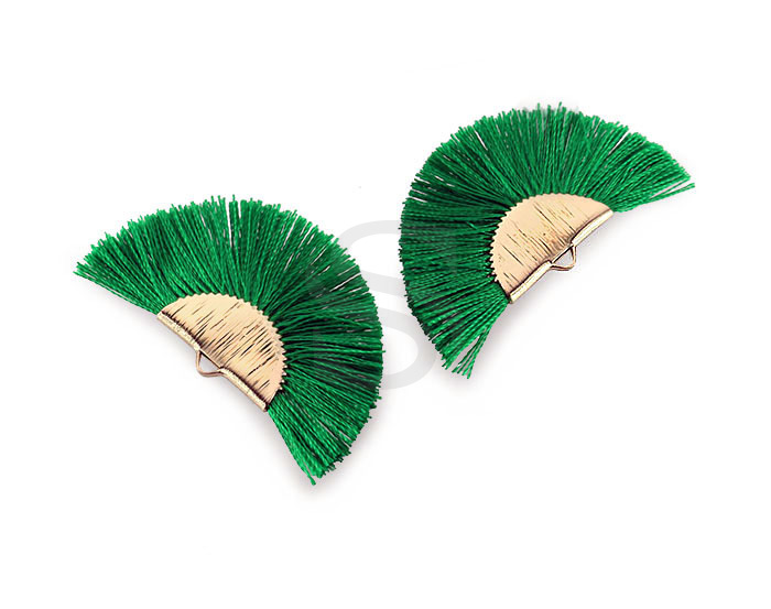 [UM0089-GVG] 4 Pcs / Fan Tassel / Thread + Brass / 45.5mm x 26.2mm