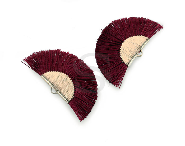 [UM0089-GWR] 4 Pcs / Fan Tassel / Thread + Brass / 45.5mm x 26.2mm