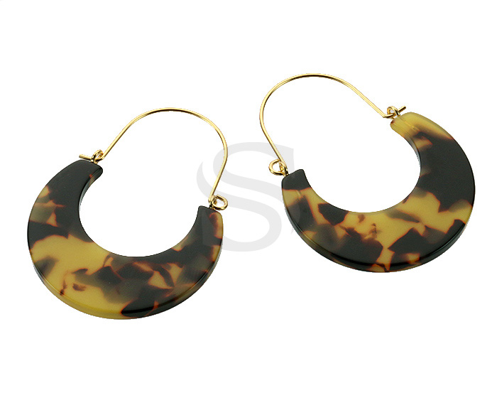 [UM0091-GBR] 4 Pcs / Mixed Color Marbled Resin Hoop Earring / Resin / 35.2mm x 47.2mm