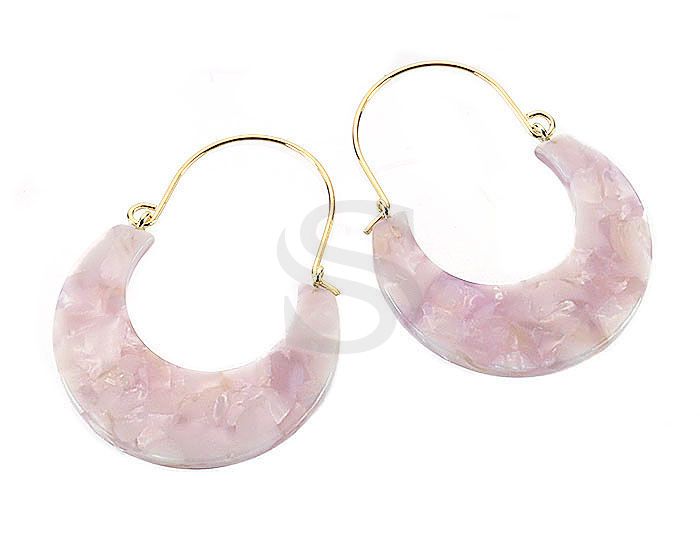 [UM0091-GPK] 4 Pcs / Mixed Color Marbled Resin Hoop Earring / Resin / 35.2mm x 47.2mm