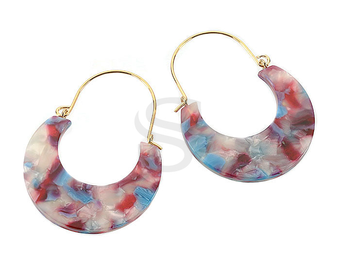 [UM0091-GRP] 4 Pcs / Mixed Color Marbled Resin Hoop Earring / Resin / 35.2mm x 47.2mm