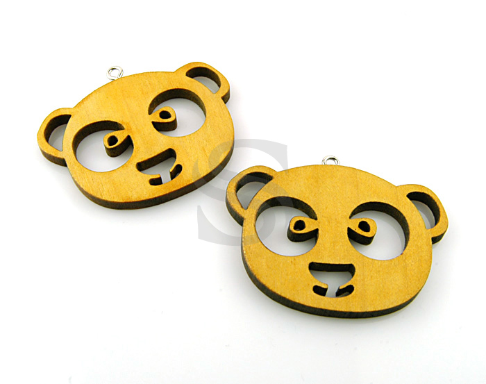 [UM0024-YE] 2 Pcs / Wooden Cute Raccon / Wood / 45.8mmx36mm