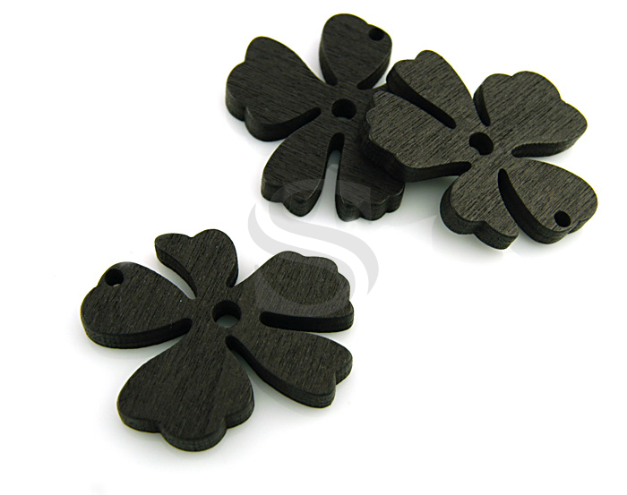 [UM0030-BL] 4 Pcs / Wooden Beautiful Flower Pendant / Wood / 37mm x 31.5mm