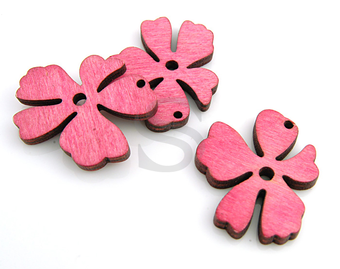 [UM0030-PK] 4 Pcs / Wooden Beautiful Flower Pendant / Wood / 37mm x 31.5mm