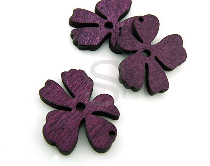 [UM0030-PU] 4 Pcs / Wooden Beautiful Flower Pendant / Wood / 37mm x 31.5mm