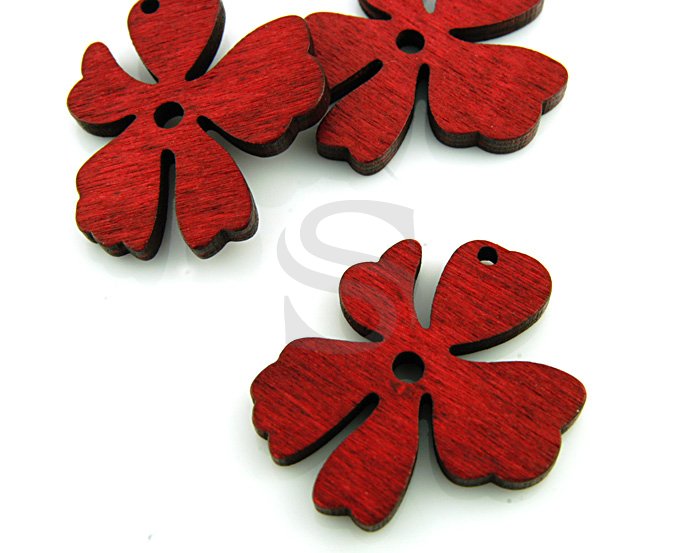 [UM0030-RE] 4 Pcs / Wooden Beautiful Flower Pendant / Wood / 37mm x 31.5mm