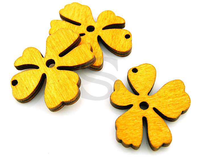 [UM0030-YE] 4 Pcs / Wooden Beautiful Flower Pendant / Wood / 37mm x 31.5mm