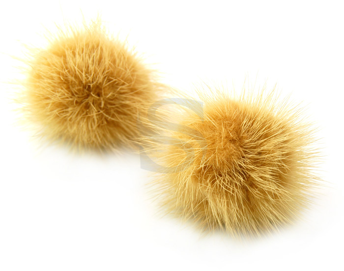 [UM0033-BE] 2 Pcs / Genuine Mink Fur / 50mm - 60mm