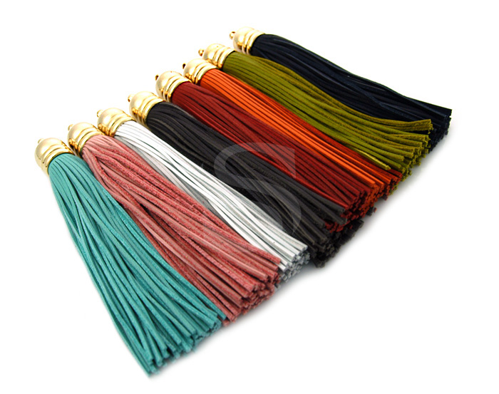 [UM0036-GRE] 1 Pcs / Leather Tassel Set In Beads Cap / Leather + Brass / 12mm x 98mm
