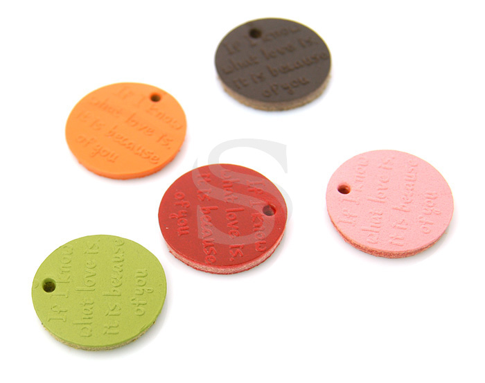 [UM0040-BR] 6 Pcs / Leather Circle Pendant / Leather / 22mm