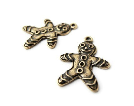 [C-043-AB] 6 Pcs / Cute Smile Face Gingerbread Man Charm