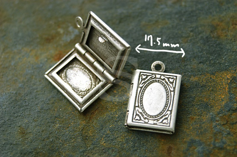 [B1581-P-AS] 2 Pcs / Highly Detailed Book Lockets
