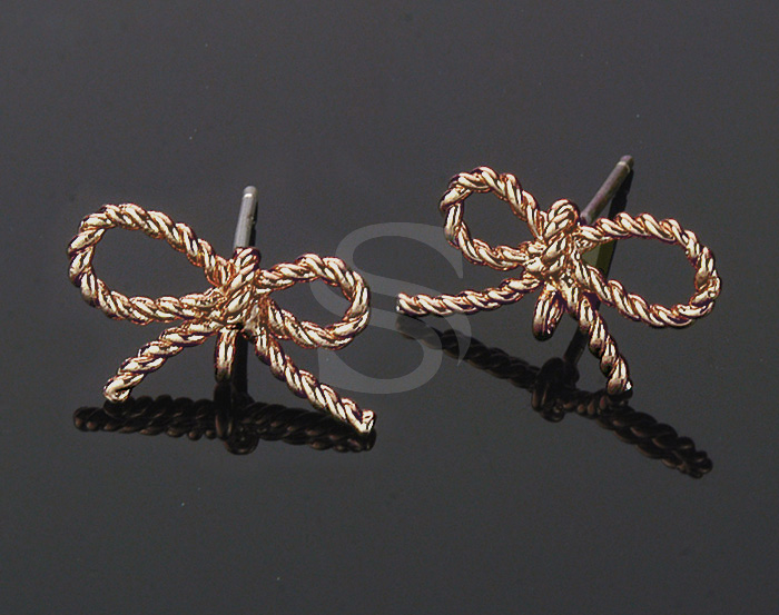 [B0105-E-RG] 4 Pcs / Braided Cord Ribbon Stud Earring Findings / Brass / 16mm x 10mm