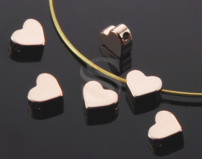 [B1107-C-RG] 8 Pcs / Simple Flat Petite Heart Beads / Brass / 7mm x 6mm