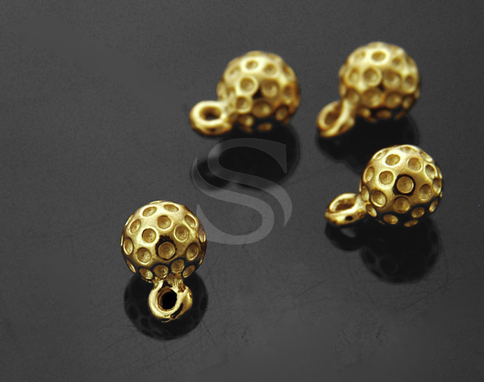 [B1169S-P-G] 4 Pcs / Adorable Golf ball Charm / 92.5% Stering Silver / 5mm x 7.5mm