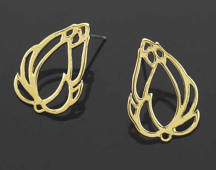 [B1223-E-G] 2 Pcs / Rose Bud Stud Earring / Brass / 15.5mm x 22mm
