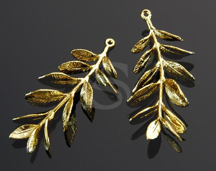 2 pieces 55x34mm Brass Hibiscus Leaf pendant or drop Vintaj Brass P214