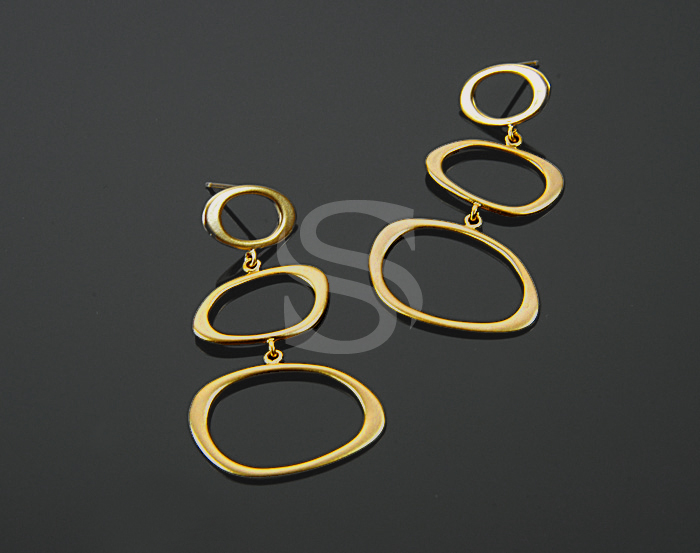 [B0483-E-MG] 2 Pcs / Three Unique Free-Curved-Line Earrings / Brass / 42.6mmx24mm