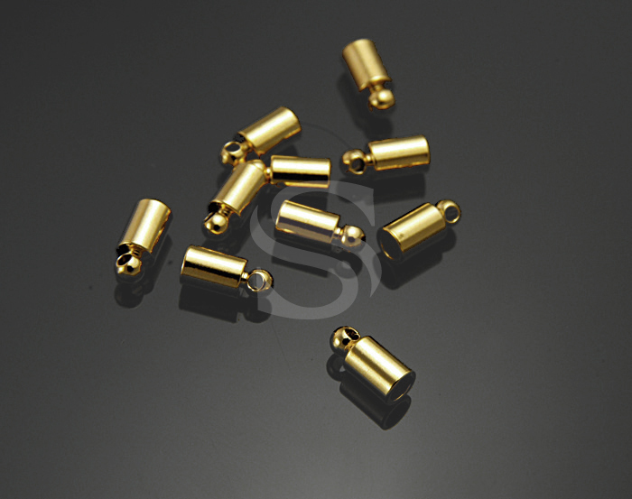 [BS0502-G] 10 Pcs / Glueable End Caps / Brass / 3.6 mmx 8mm