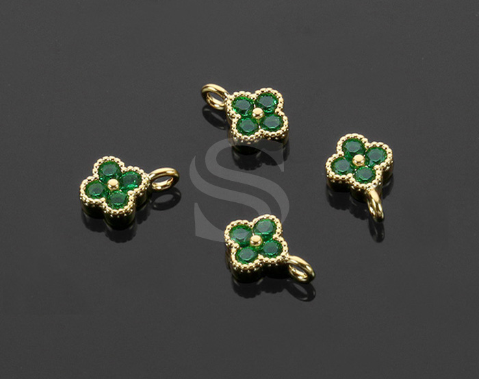 [H0414-P1-GEM] 4Pcs / Four Petals Flower Charm / Brass / 6mm x 7.5mm
