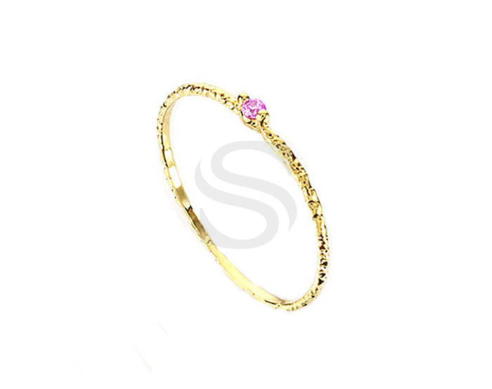 [R0179-51-GPK] 1 Pcs / Cubic Zirconia Pointed Ring / Brass / EU:51 , US:5 ¾, 16.24mm
