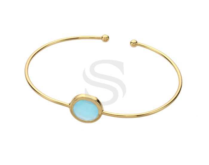 [R0273-GPO] 1 Pcs / Round Shaped Bezel Setting Glass Pointed Cuff bangle / Brass / 60mm