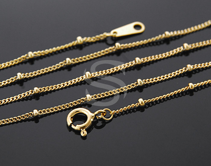 [CH1603S-G] 1Pcs / Curb Chain with Beads(1.6mm) / 92.5% Sterling Silver / 1mm X 400mm