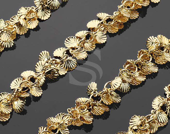 [CH0805-G] 1m / Delicate Adorable Seashell Chain / Brass / 6mm x 6.5mm (Seashell)