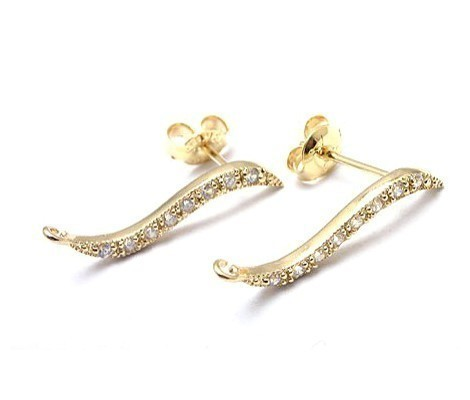 [H0017-E-G] Elegant Curve Stud Earring Findings / 20mm