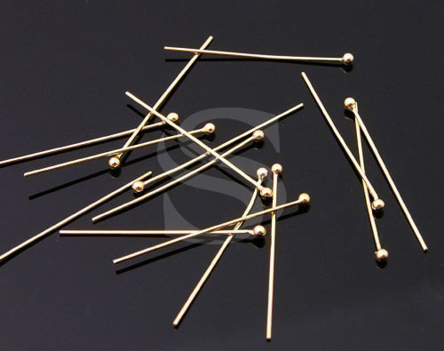 [BS0305S-G] 50 Pcs / Headpins / 925 Silver / 25 Gauge x 20mm